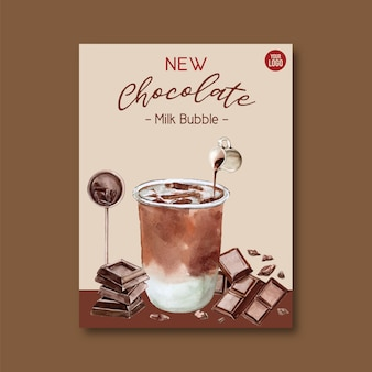 Zestaw herbaty mlecznej bańki czekoladowe, reklama plakat, szablon ulotki, ilustracja akwarela