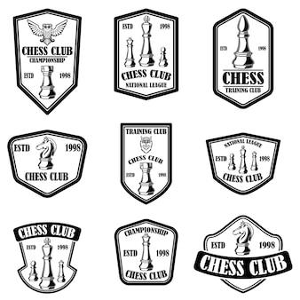 Zestaw herbów klubu szachowego. element projektu plakatu, logo, etykiety, znaku.
