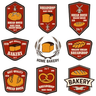Zestaw herbów piekarnia, chleb sklep. element projektu plakatu, logo, etykiety, znaku.