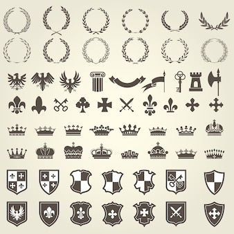 Zestaw herbowy przedstawiający herby rycerskie i elementy herbu - średniowieczne herby heraldyczne