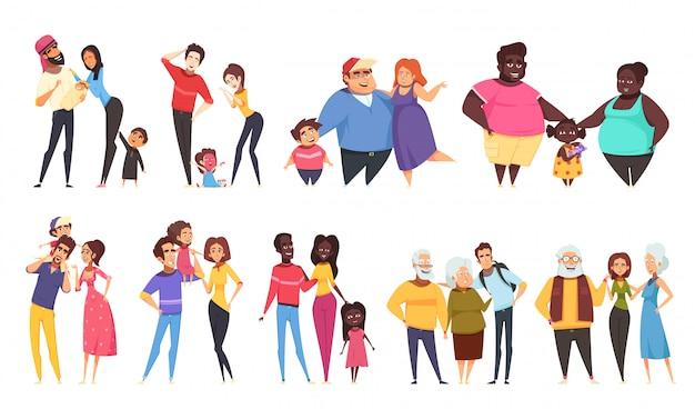 Zestaw heteroseksualnych rodzin z dziećmi