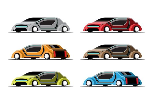 Zestaw hi-tech luksusowych samochodów na białym tle
