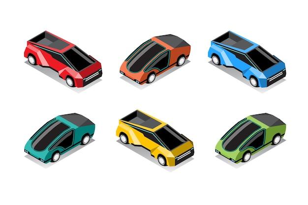 Zestaw Hi-tech Samochodów W Nowoczesnym Stylu Na Białym Tle Darmowych Wektorów