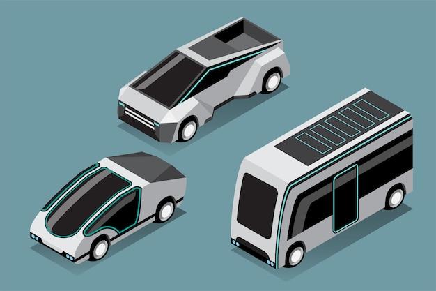 Zestaw hi-tech samochodów w nowoczesnym stylu na niebiesko