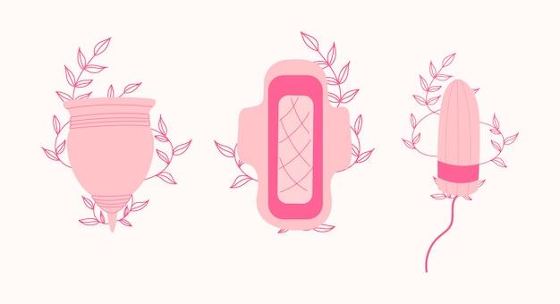 Zestaw higieniczny do menstruacji kobiet. kubeczek menstruacyjny, tampon.