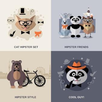 Zestaw hipster zwierząt
