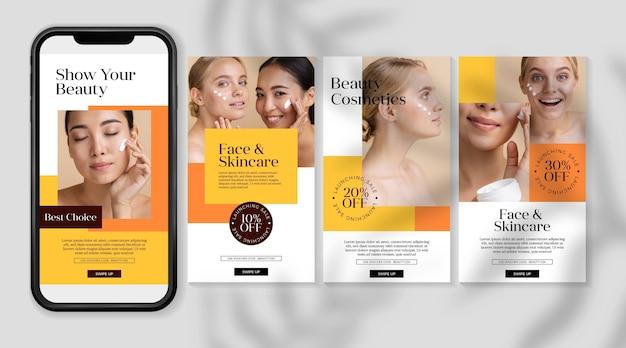 Zestaw historii na instagramie kosmetyków