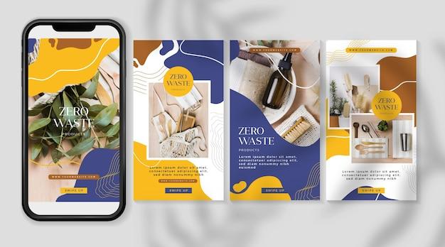 Zestaw historii na instagramie zero waste