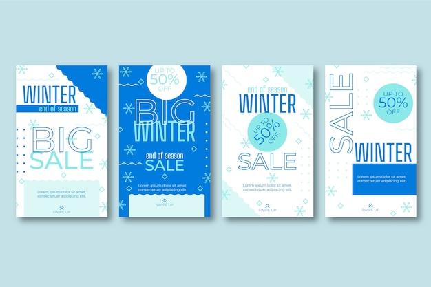 Zestaw historii na instagramie zimowej sprzedaży