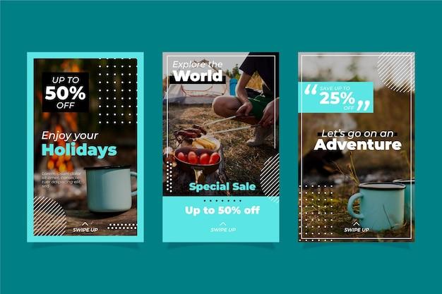 Zestaw historii sprzedaży na instagramie w podróży