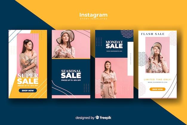 Zestaw historii sprzedaży na instagramie