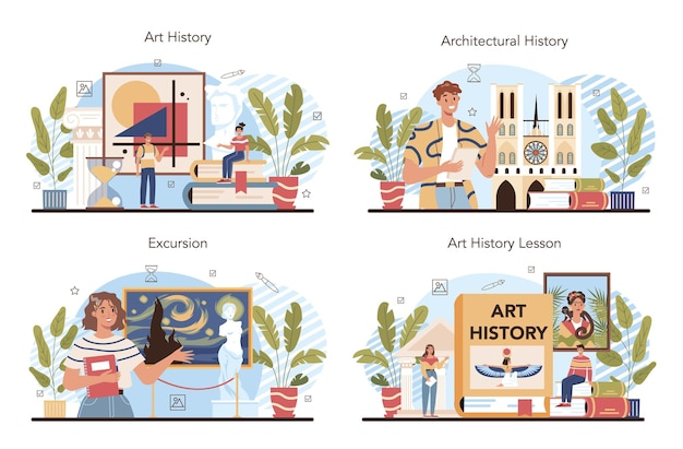 Zestaw historii szkolnictwa artystycznego. studentka studiująca historię sztuki. nauczyciel mówi