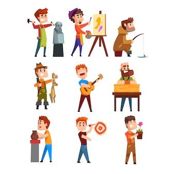 Zestaw hobby ludzi. postaci z kreskówek męskich. rzeźbiarstwo, malarstwo, wędkarstwo, polowanie, gra na gitarze, ogrodnictwo, gra w rzutki. mieszkanie na białym tle.
