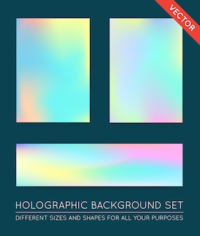 Zestaw holograficzne modne tła. może być używany do okładki, książki, druku, mody.