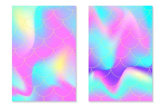 Zestaw holograficznej tęczy tła. złote łuski syreny. nadruk hologramowy na kartę z zaproszeniem.
