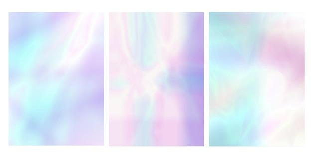 Zestaw holograficzny pastel opalizujący streszczenie okładki. płynny wektor lat 90., 80. w stylu retro. szablon graficzny książki, interfejsu mobilnego, aplikacji internetowej