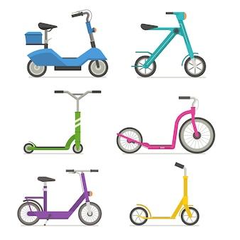 Zestaw hulajnogi rolkowej. rowery biegowe. różne skutery ekologiczne alternatywny transport miejski.