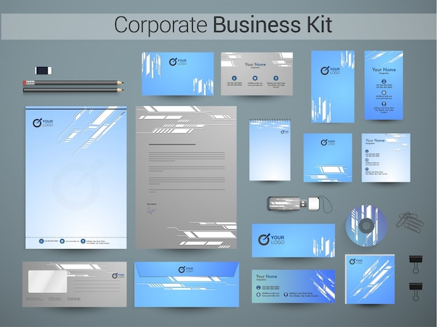 Zestaw identyfikacyjny firmy z abstrakcyjnym wzorem.