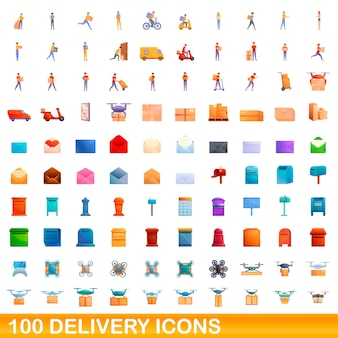 Zestaw Ikon 100 Dostawy. Ilustracja Kreskówka 100 Ikon Dostawy Na Białym Tle Premium Wektorów