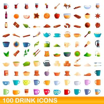 Zestaw ikon 100 napojów. ilustracja kreskówka 100 napojów ikon wektorowych zestaw na białym tle