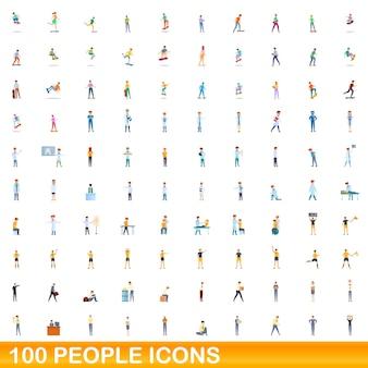 Zestaw ikon 100 osób. ilustracja kreskówka 100 osób zestaw ikon na białym tle