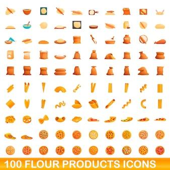 Zestaw ikon 100 produktów mąki. ilustracja kreskówka zestaw ikon 100 produktów mącznych na białym tle