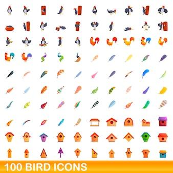 Zestaw ikon 100 ptaków. ilustracja kreskówka 100 ikon ptaków ustawionych na białym tle