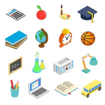 Zestaw ikon 3d izometryczny edukacji