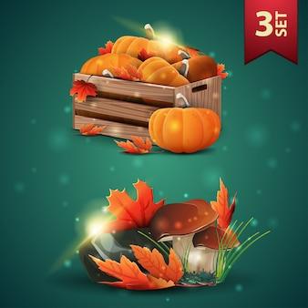 Zestaw ikon 3d jesieni, drewniane skrzynie dojrzałych dyń, jesienne okapy, grzyby i jesienne liście