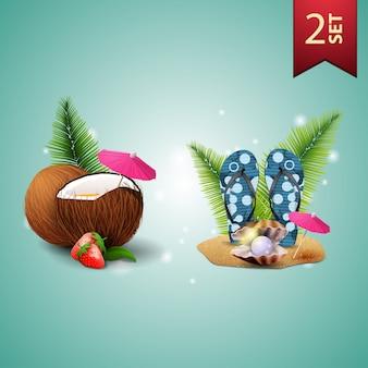 Zestaw ikon 3d wolumetrycznych letnich dla twojej sztuki
