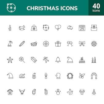 Zestaw ikon 40 świątecznych linii