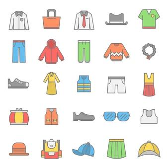 Zestaw ikon akcesoria do ubrań