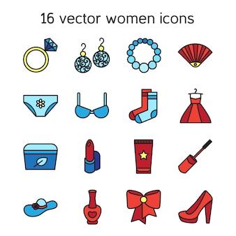 Zestaw ikon akcesoria kobieta