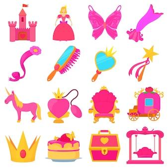 Zestaw ikon akcesoriów księżniczki