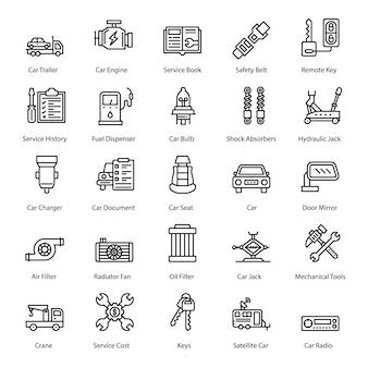 Zestaw ikon akcesoriów samochodowych