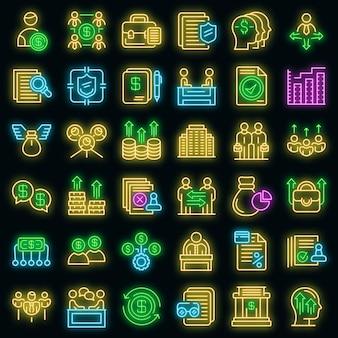 Zestaw ikon akcjonariusza. zarys zestaw ikon wektorowych akcjonariusza w kolorze neonowym na czarno