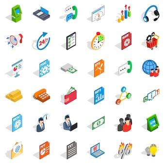 Zestaw ikon analityki biznesowej, styl izometryczny