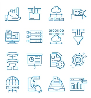 Zestaw ikon analizy danych w stylu konspektu
