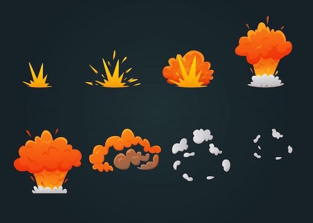 Zestaw ikon animacji wybuchu