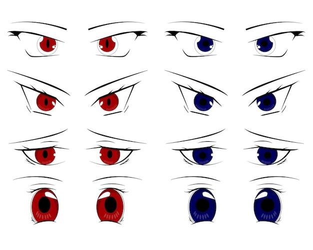 Zestaw ikon anime oczy kreskówka na białym stylu płaskiej kreskówki
