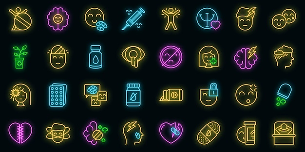Zestaw ikon antydepresyjnych wektor neon