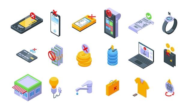 Zestaw ikon anulowania płatności. izometryczny zestaw ikon wektorowych anulowania płatności do projektowania stron internetowych na białym tle