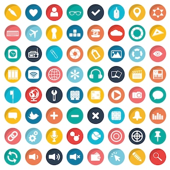 Zestaw ikon aplikacji dla stron internetowych i telefonów komórkowych