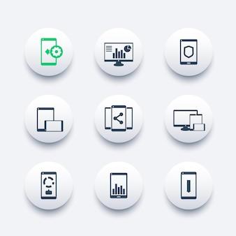 Zestaw ikon aplikacji mobilnych, stacjonarnych, piktogramy wektorowe ze smartfonami i tabletami