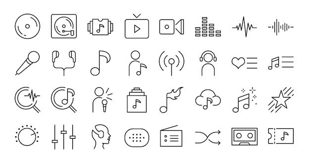 Zestaw ikon aplikacji muzycznej.