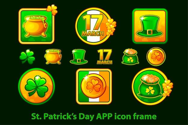 Zestaw ikon aplikacji w ramce na st patricks day na zielonym tle.