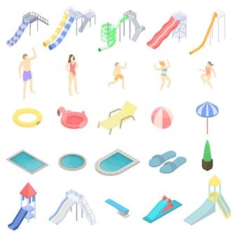 Zestaw ikon aquaparku, styl izometryczny