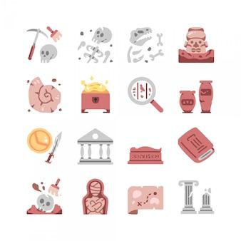 Zestaw ikon archeologii