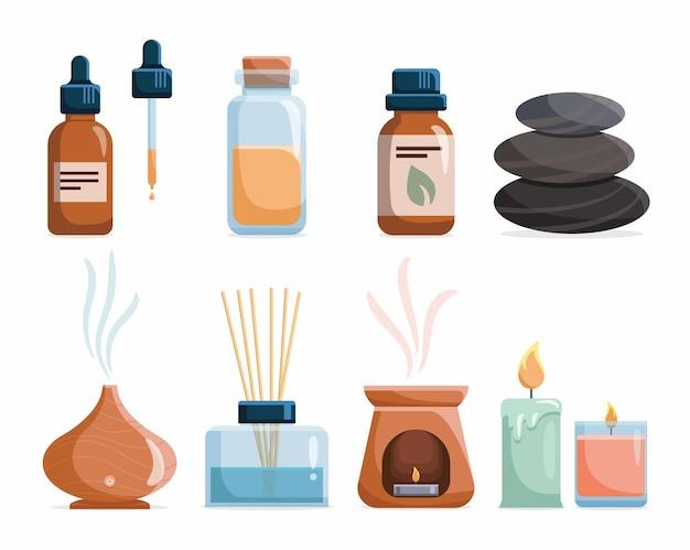 Zestaw ikon aromaterapii z olejkami eterycznymi. butelki z naturalnymi olejkami aromatycznymi, ziołami, dyfuzorem, świecą do odnowy biologicznej i urody homeopatia i terapia ajurweda.
