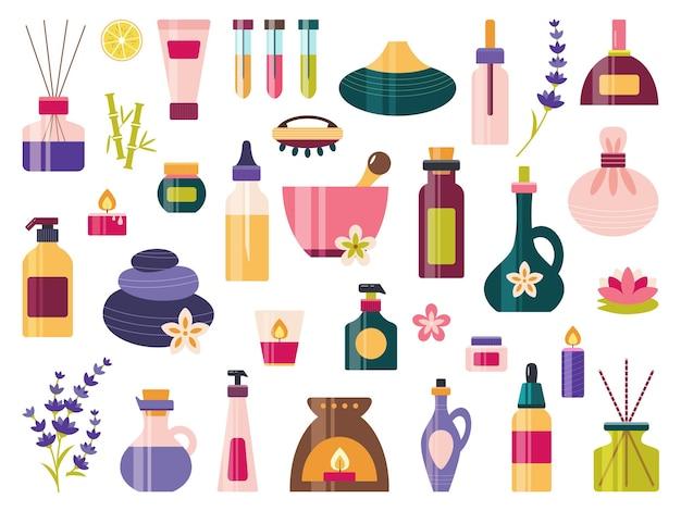 Zestaw ikon aromaterapii z olejkami eterycznymi do spa i masażu.